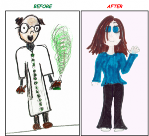 What a student drew when asked to draw a scientist: before and after meeting one. (http://thesocietypages.org/socimages/2010/07/07/role-models-and-gender-stereotyping/)